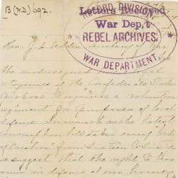 Letter from Annie Samuels to the Confederate Secretary of War J. A. Sedden Asking to Form a Regiment of Women