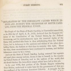 Declaration of Immediate Causes Which Induce and Justify the Secession of South Carolina from the Federal Union