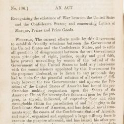 An Act Recognizing the Existence of War Between the United States and the Confederate States, and Concerning Letters of Marque, Prizes and Prize Goods