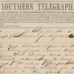 Telegram from Jefferson Davis to General S. Cooper Announcing the Confederate Victory at Manassas