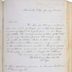 Letter from the Scholars of Mandeville College to President James K. Polk Regarding Oregon