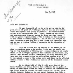 Letter from Harry S. Truman to Eleanor Roosevelt