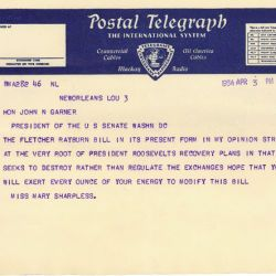 Telegram from Mary Sharpless Opposing the Securities Exchange Act of 1934