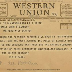 Telegram from C.F. Giraud Opposing the Securities Exchange Act of 1934