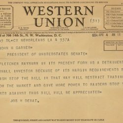 Telegram from Joseph H. Debat Opposing the Securities Exchange Act of 1934