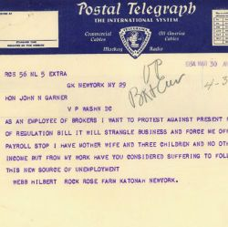 Telegram from Webb Hilbert Opposing the Securities Exchange Act of 1934