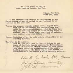Petition of the Socialist Party of Tompkins County, New York, Requesting Federal Control of the Banking System