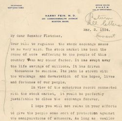 Letter from Harry Fein Supporting the Securities Exchange Act of 1934