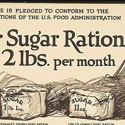 """This Store is pledged to conform to the Sugar Regulations of the Food Administration. Your Sugar Ration is 2lbs. per month. Sugar 2lbs.- America"