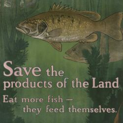 """Save the products of the land. Eat more fish- they feed themselves."""