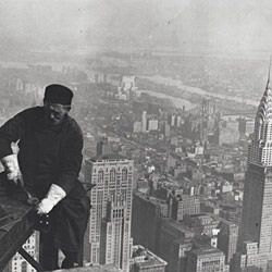 Photograph of a Workman on the Framework of the Empire State Building