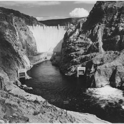 Photograph of the Boulder Dam from Across the Colorado River