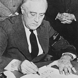 FDR Signing the Declaration of War Against Japan