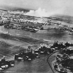 Captured Japanese photograph taken during the attack on Pearl Harbor, Dec. 7, 1941. In the distance, the smoke rises from Hickam Field.