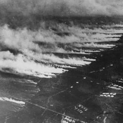 French soldiers making a gas and flame attack on German trenches in Flanders. Belgium