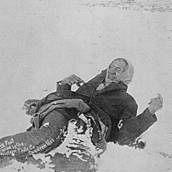 """Big Foot, leader of the Sioux, captured at the battle of Wounded Knee, S.D."" Here he lies frozen on the snow-covered battlefield where he died"