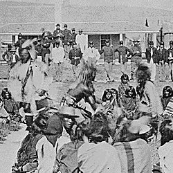 Shoshone Indians at Ft. Washakie, Wyoming Indian reservation .. . Chief Washakie (at left) extends his right arm