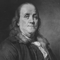 Benjamin Franklin. Copy of painting by Joseph Duplessis