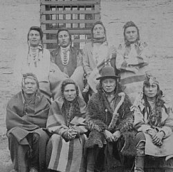 Crow Indian Chiefs. Captured at Custer Battlefield, Montana, Nov.7th and imprisoned at Ft. Snelling, Minn. Nov. 15th 1887. [Crazy-Head, Looks-with-his-Ears, Rock, The-Man-that-carries-his-food, Bank,