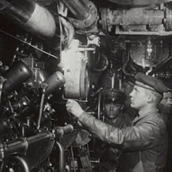 Photograph of the Engine Room of an Oil-Burning German Submarine