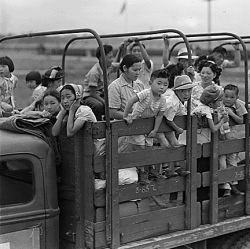 Closing of the Jerome Relocation Center, Denson, Arkansas. A typical truck load of Jerome residents...