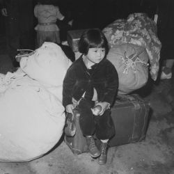 A young evacuee of Japanese ancestry waits with the family baggage before leaving by bus for an assembly center in the spring of 1942.