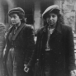 Women prisoners. Copy of German photograph taken during the destruction of the Warsaw Ghetto, Poland