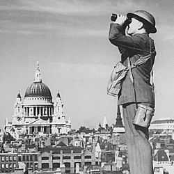Aircraft Spotter on the Roof of a Building in London. St. Paul
