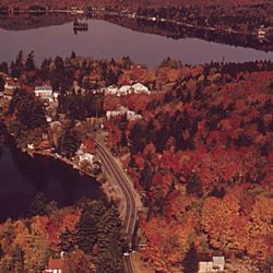 Aerial View Of The Village Of Inlet, New York, Typical Small Adirondack Forest Preserve Hamlet With One Main Street
