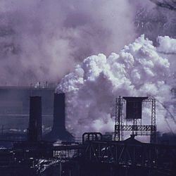 White Plume Containing Many Pollutants is Emitted from a Quenching Tower at a Coke Plant Owned by the United States Steel Corporation