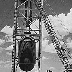 "[""Jumbo"" atomic device being positioned for ""Trinity"" test at Alamogordo, New Mexico.]"