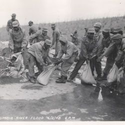 African American Soldiers Filling Sandbags During the Vanport Flood, Columbia River