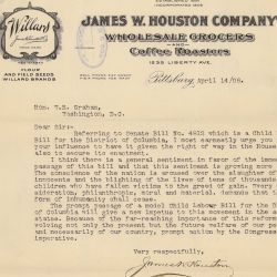 Letter from James W. Houston and Others Supporting Child Labor Bill for District of Columbia