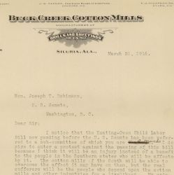 Letter from Marshall Dilling Opposing Keating-Owen Child Labor Bill