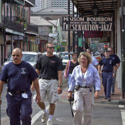 [Hurricane Katrina] New Orleans, LA., October 2, 2005 -- Following Hurricane Katrina, the world famous Bourbon Street if filled with fire fighters,and workers as it begins to open bars and restaurants