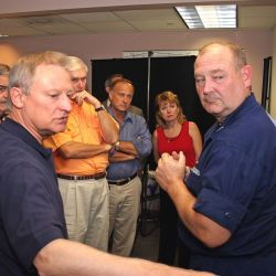 [Hurricane Katrina/Hurricane Rita] Baton Rouge, LA October 4, 2005 - Rep. Spencer Bachus (R-AL) asks Admiral Thad Allen, FEMA Principal Federal Official for Gulf Coast Operations, about recovery effor
