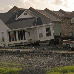 [Hurricane Katrina] New Orleans, LA, 9-30-05 -- Houses were destroyed after hurricane Katrina came through the area and the levees broke. Some homes floated off their foundations and bumped into other