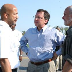 [Hurricane Katrina] New Orleans, LA, September 4, 2005 -- Department of Homeland Security Secretary Michael Chertoff, right, and Undersecretary of FEMA Mike Brown, center, meet with Mayor Ray Nagin at