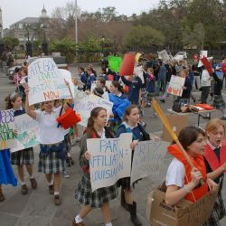"[Hurricane Katrina] New Orleans, LA, 01-12-06 -- Students from the ""Academy of Sacred Heart High School"" peacefully protest to ask for catagory 5 Levee"