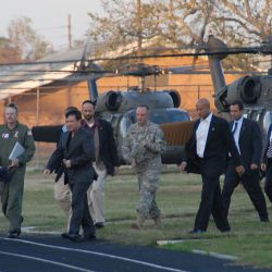[Hurricane Katrina] New Orleans, LA, 02-3-06 -- King Abdullah II Bin Al-Hussein of Jordan arrives from an over flight of the Hurricane Katrina damaged area in Black Hawk Helocopters to meet with 40 1s