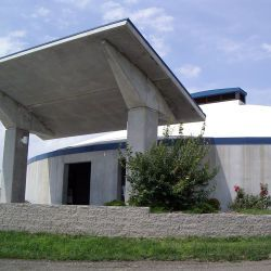 Des Moines, Iowa, July 24, 2004 -- This tornado shelter for 400 campers at the Iowa State Fairgrounds outside Des Moines was completed in 2003