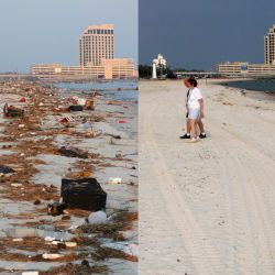 [Hurricane Katrina] Biloxi, Miss., September 3, 2005 and August 8, 2006 -- Before (left) and after the process of cleaning up Biloxi beach. Over 33,000 cubic yards of debris was left on Harrison Count