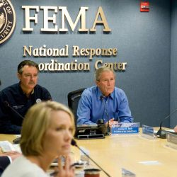 [Hurricane Gustav] Washington, DC, August 31, 2008 -- President George W. Bush joins FEMA Administrator David Paulison and FEMA Deputy Administrator Harvey Johnson and other FEMA staff for a Video Tel