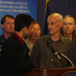 [Hurricane Gustav] New Orleans, LA, August 31, 2008 -- Governor Bobby Jindal shakes hands Michael Chertoff Secretary of Department of Homeland Security, thanking DHS for all their fast and effective s