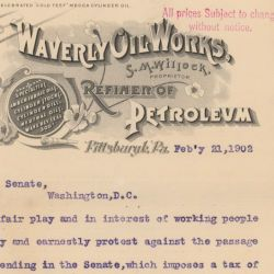 Letter from S. M. Willock, Proprietor of Waverly Oil Works, Pittsburgh, Pennsylvania to Senator M. S. Quay Regarding House Bill No. 9206