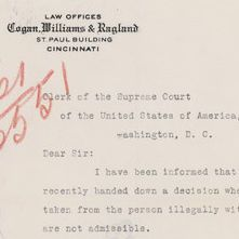 Letter from Elmer Grisley to Clerk of the Supreme Court