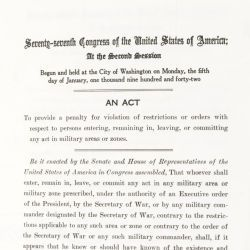Act to Penalize Persons in Violation of Executive Order 9066