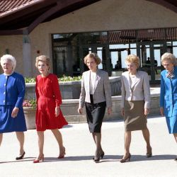 First Ladies Barbara Bush, Nancy Reagan, Rosalynn Carter, Betty Ford, Pat Nixon, and Lady Bird Johnson at the Dedication of the Ronald Reagan Presidential Library