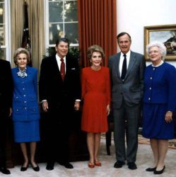 Mrs. Johnson, President and Mrs. Carter, President and Mrs. Ford, President and Mrs. Nixon, President and Mrs. Reagan, President and Mrs. Bush Attend Dedication of the Ronald Reagan Presidential Libra