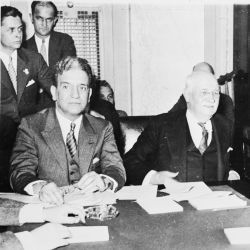 Ferdinand Pecora, Chairman Duncan Fletcher, and Witness J. P. Morgan, Jr. During a Break at the Senate Banking Committee Hearings